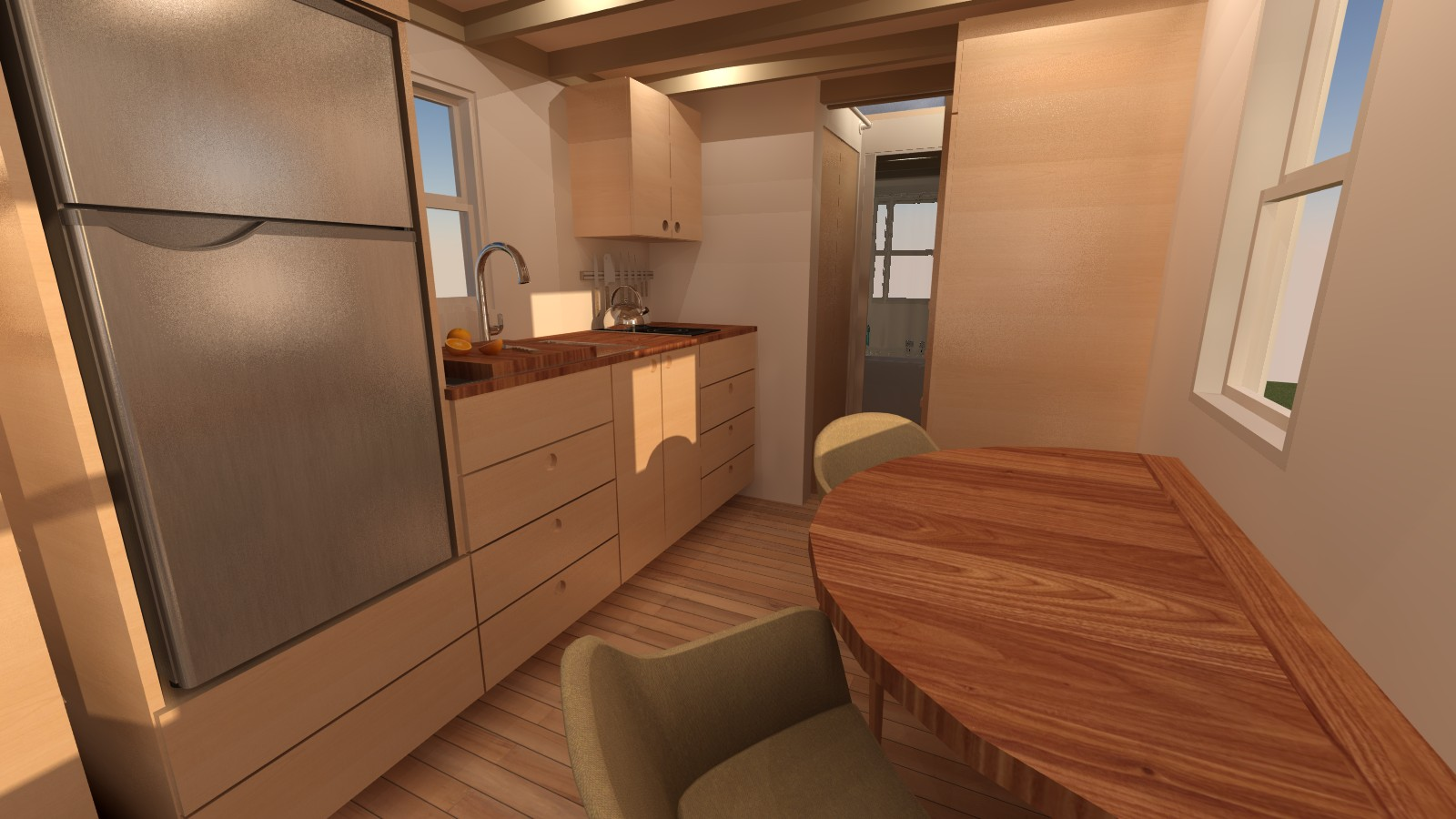 Redwood Valley Tiny House Interior Dining and Kitchen