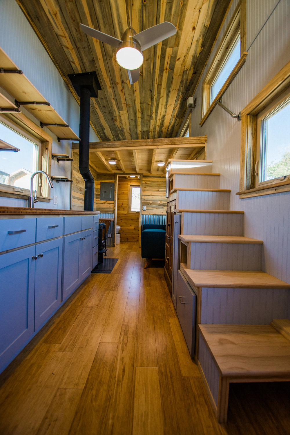 Dennis's Tiny House Kitchen and Stairs
