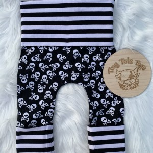 Skull and Crossbones Grow With Me Leggings as the smallest size