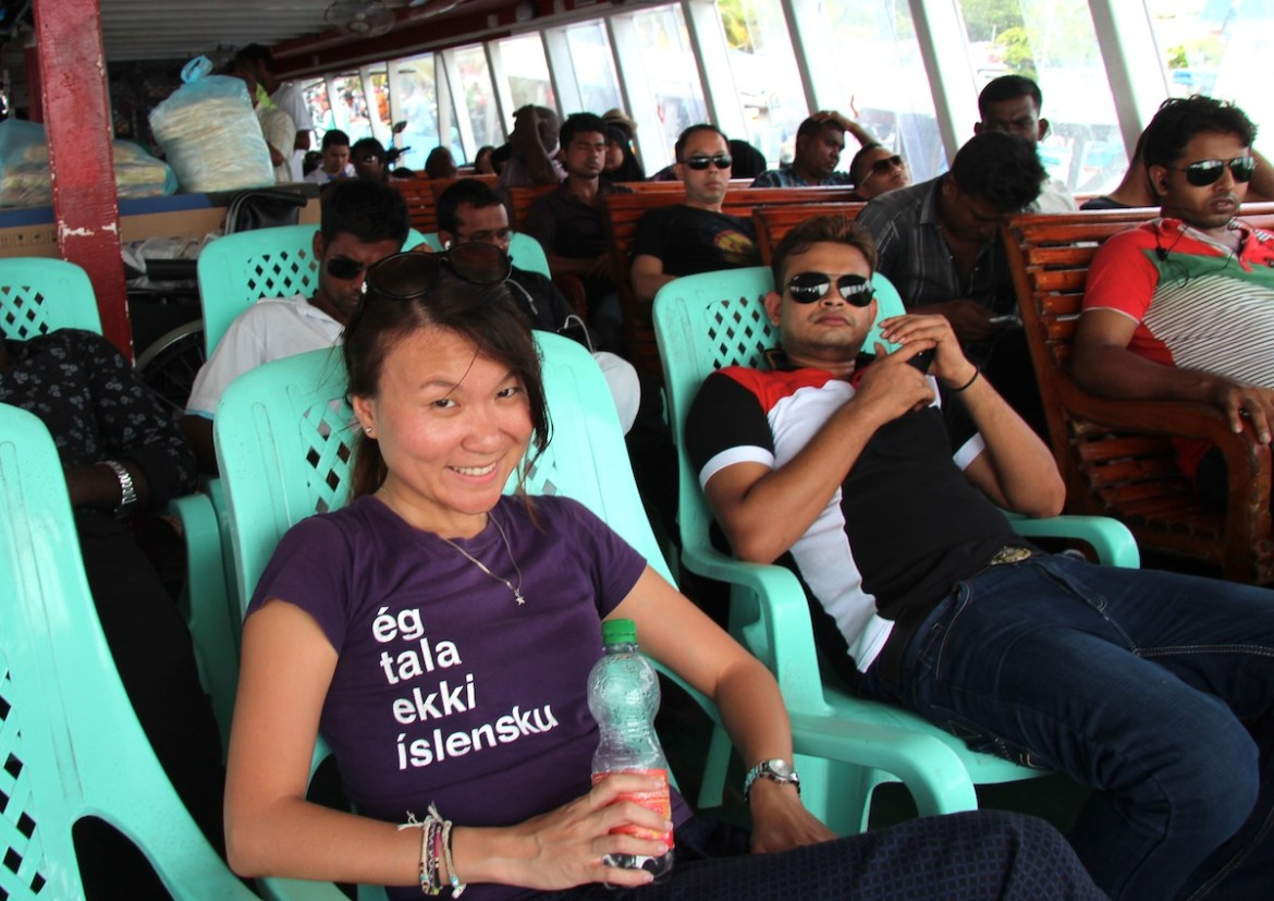 Plastic seats in the ferry