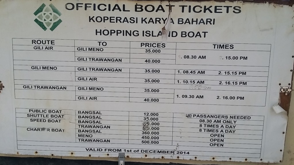 Boat prices from Gili Air