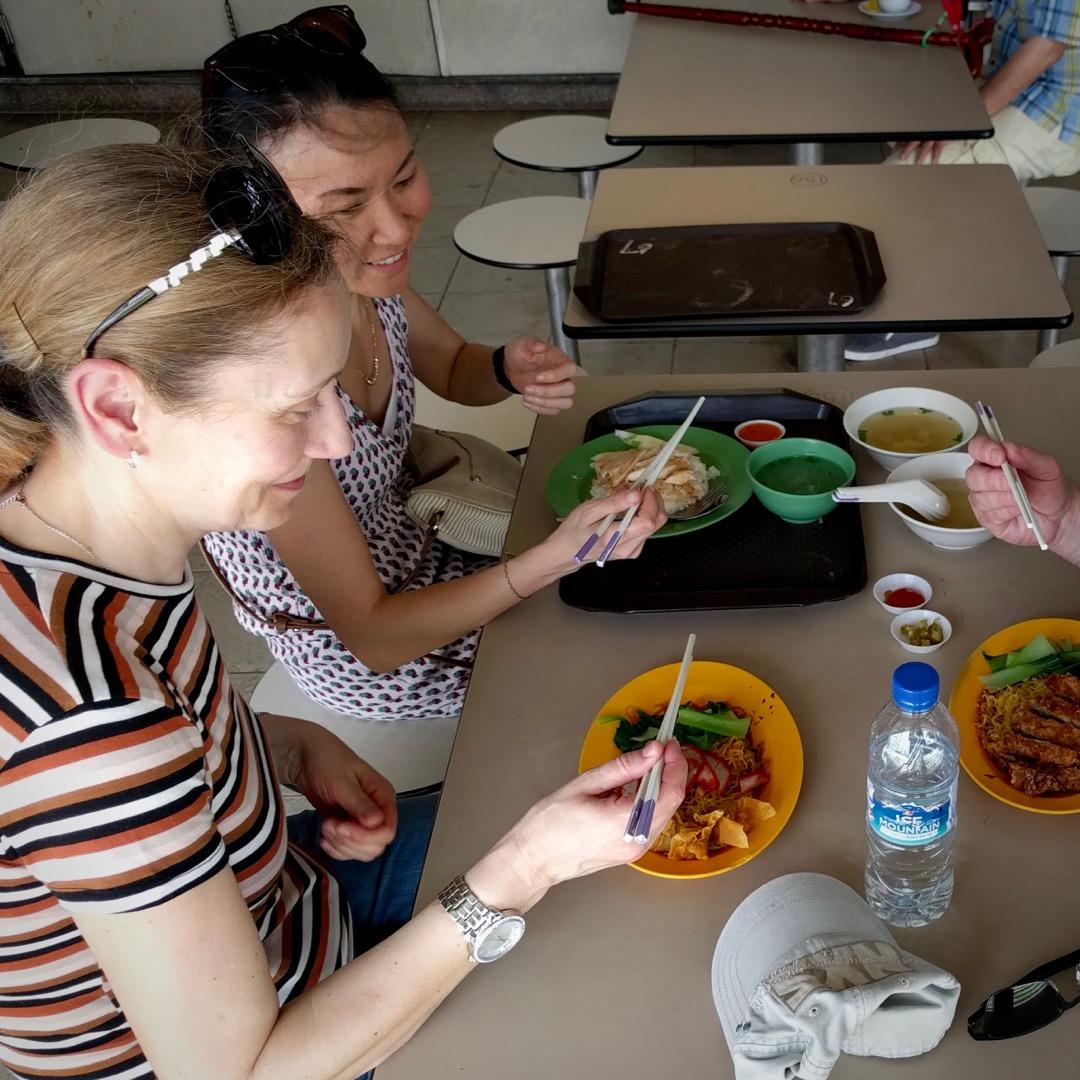 teaching my German in-laws chopsticks use in Bendemeer Food Centre