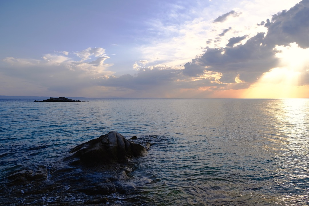 Sunset at Kalogria Beach, Nikiti, Sithonia, Halkidiki, Greece