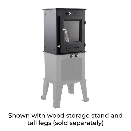 Dwarf 4kW with Tall Legs and Wood Storage Stand