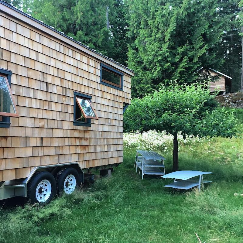 @bjmacwoodworking setting up camp with his tiny house.