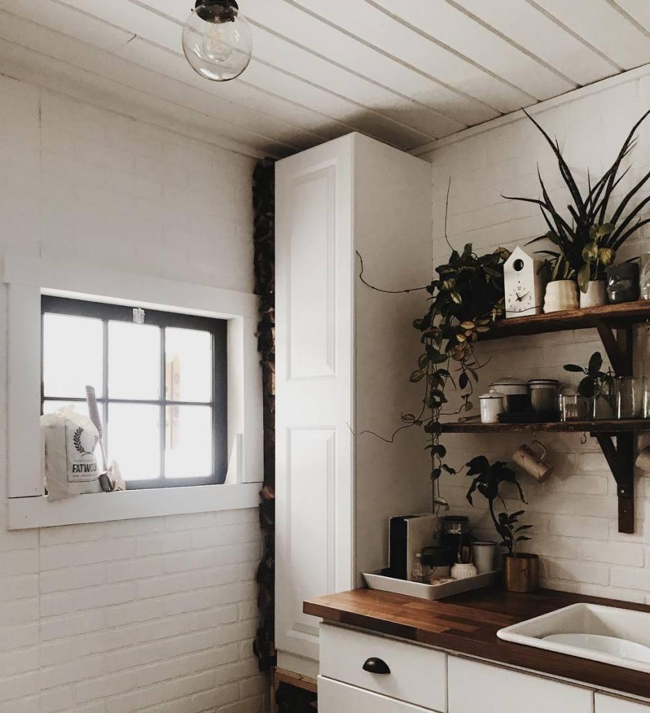 Kitchen with window light.