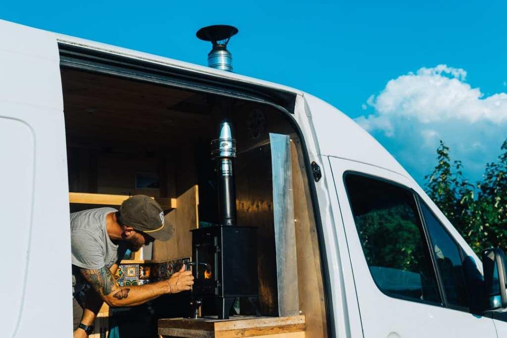 Dwarf 3kW Wood Stove in Sprinter Van