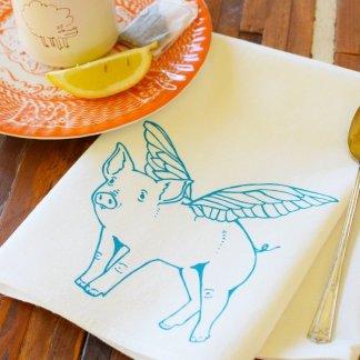 flying pig cloth napkin