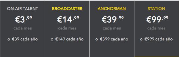 Spreaker, plan de precios