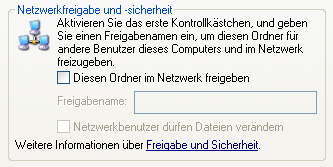 Netzwerk-Freigabe unter Windows XP Option Freigabe aktivieren