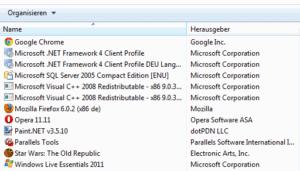 Liste der unter Windows 7 installierten Programme
