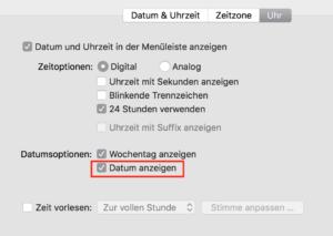 Option zum Datum in der Menüleiste anzeigen auf dem Mac