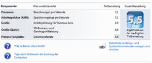 Ergebnis der Leistungsermittlung mit Windows 7