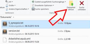 Dateipfad öffnen