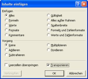 Transponieren beim Einfügen einer Tabelle in Excel