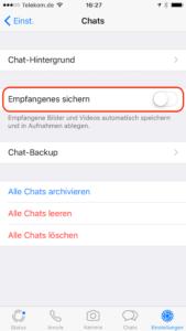 Automatisches Speichern von Bildern in Whatsapp deaktivieren