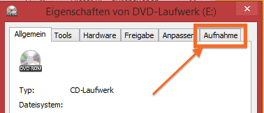 Registerreiter Aufnahme in Windows