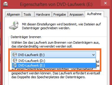 Einen Brenner in Windows auswählen