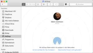 Sichtbares im Airdrop-Ordner auf dem Mac