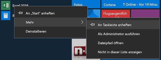 Windows 10 an Taskleiste anheften