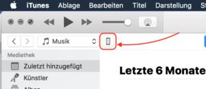 Symbol für iPhone in iTunes Menüleiste