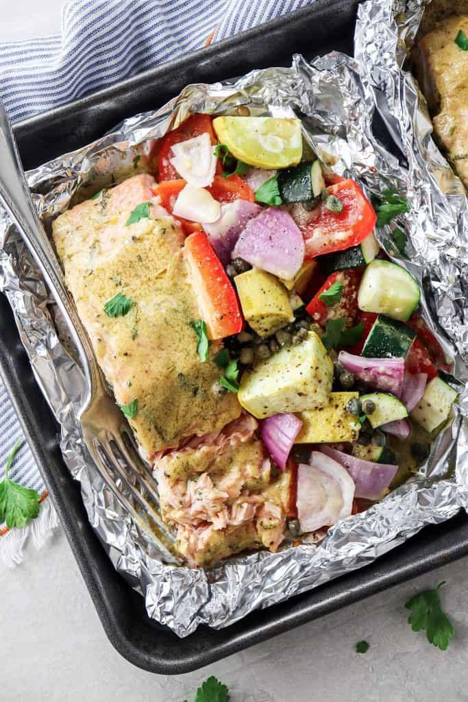 Dijon Tarragon Salmon and Veggie Foil Packs