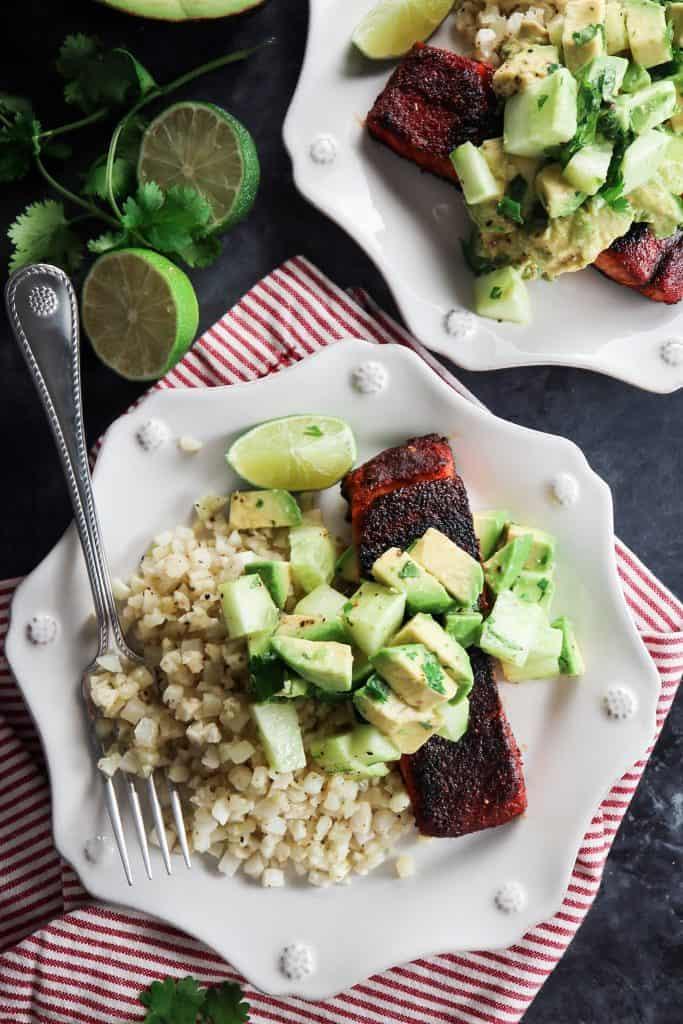 Blackened Salmon with Avocado Cucumber Salsa