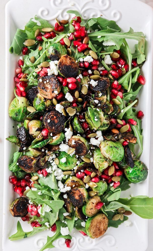Charred Brussels sprouts, Pomegranate, & Goat Cheese Salad