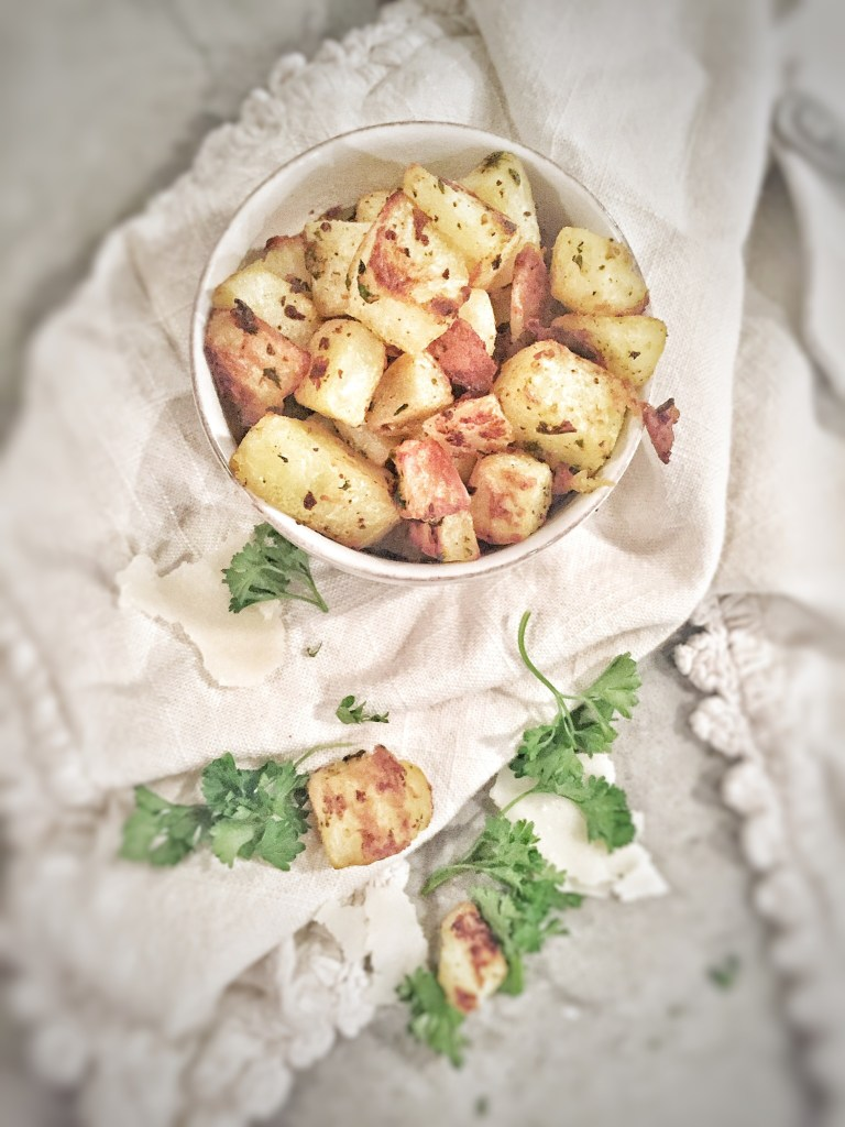 Garlic Roasted Potato Croutons