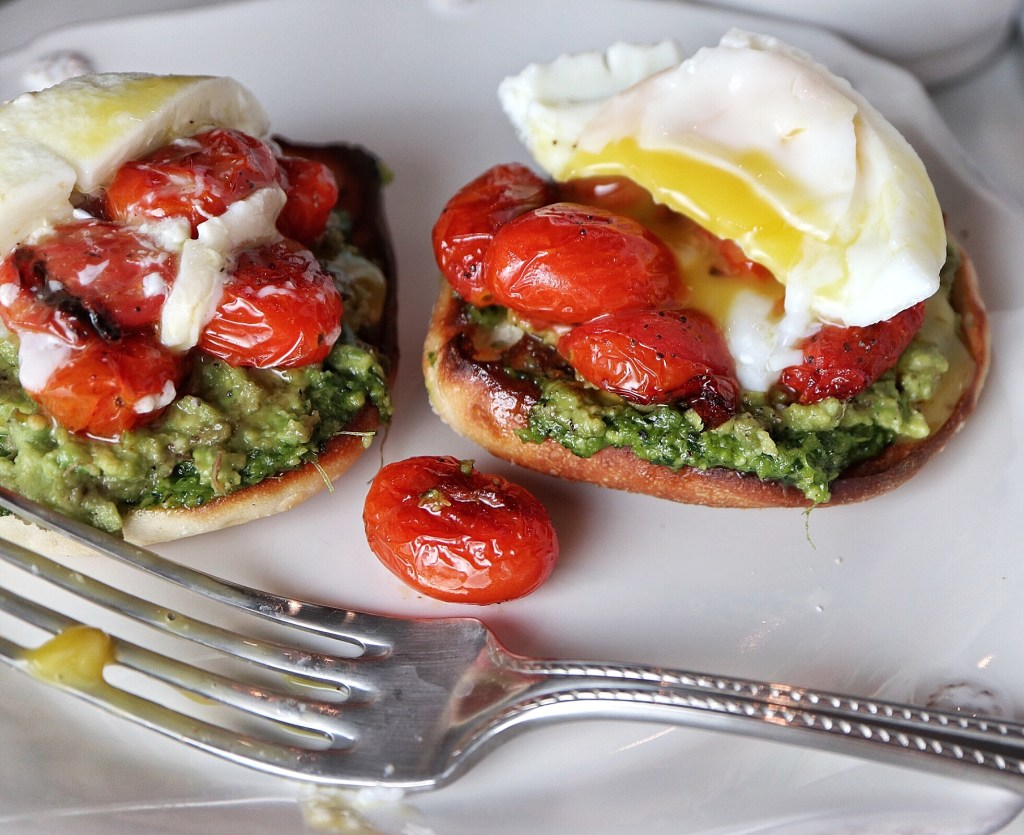 Avocado Toast with Burst Tomatoes and Pesto