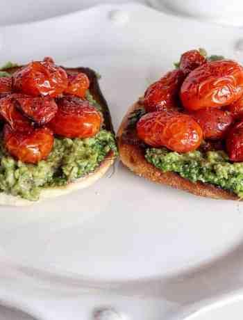 Avocado Toast with Burst Tomatoes and Pesto