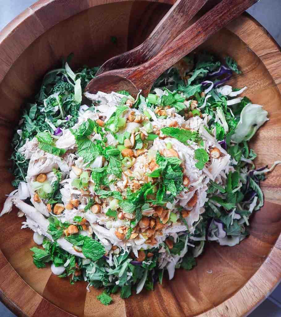 Kale & Rotisserie Chicken Salad with Peanut Vinaigrette