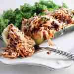 Buffalo Chicken & Quinoa Zucchini Boats