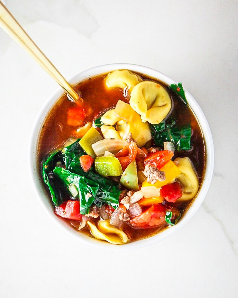 Italian Beef and pepper tortellini soup