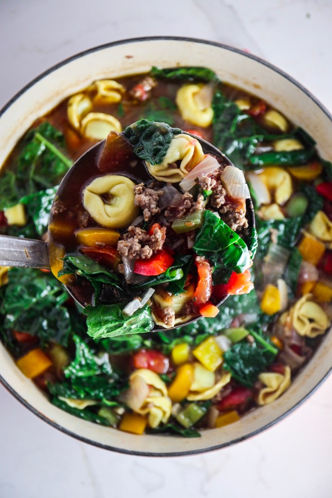 Beef Tortellini Soup with Kale and Peppers