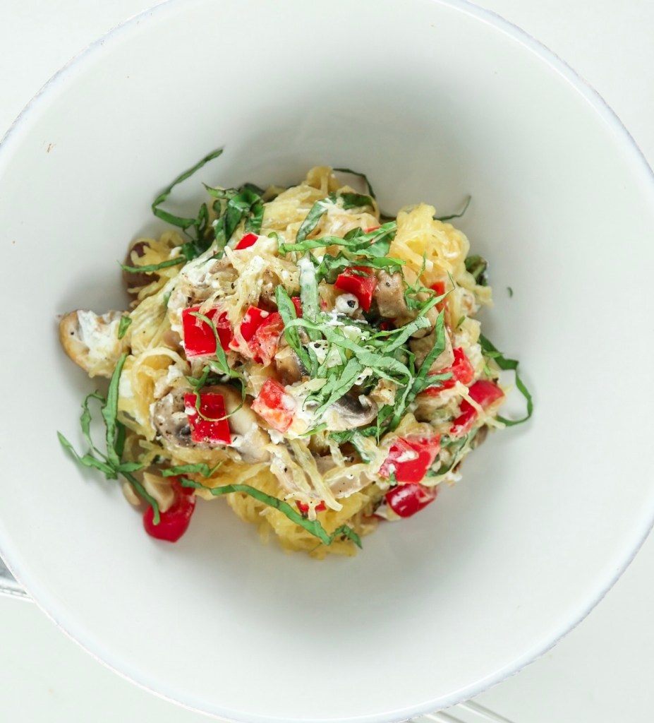 Spaghetti Squash with Red Pepper and Mushrooms