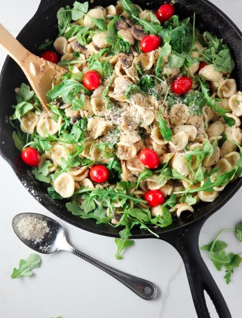 Mushroom Leek Orecchiette in White Wine Butter Sauce