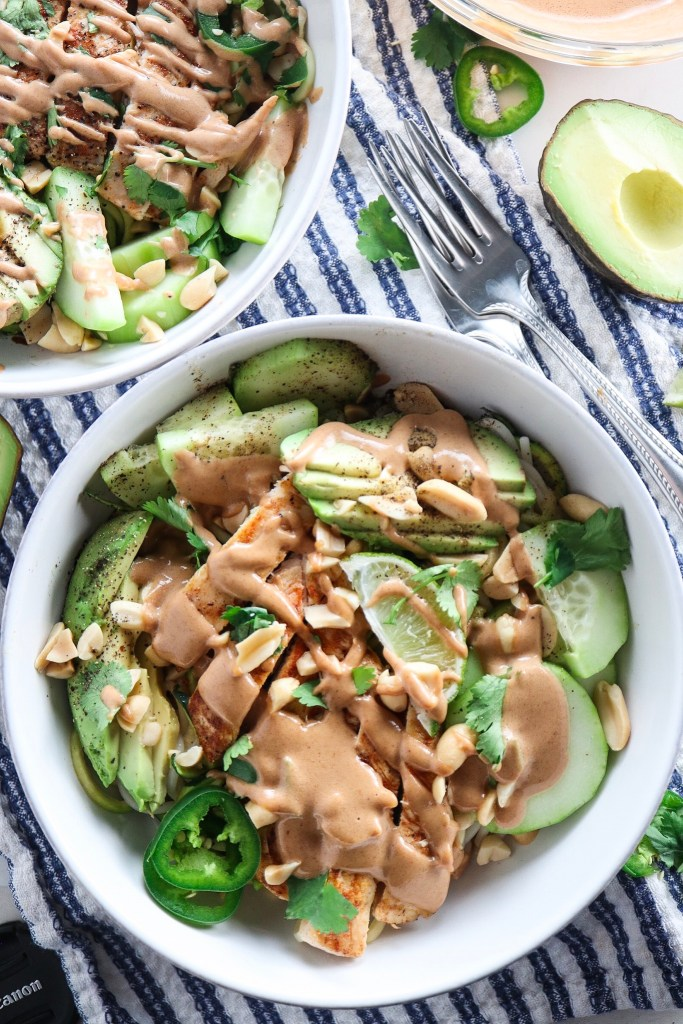 Peanut Chicken Zucchini Noodle Bowl