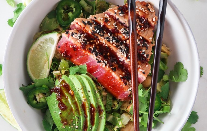 Brussels Sprouts Salad with Sesame Soy Ahi Tuna