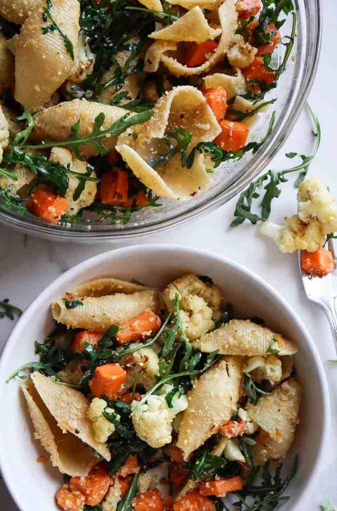 Roasted Sweet Potato and Cauliflower Parmesan Shells