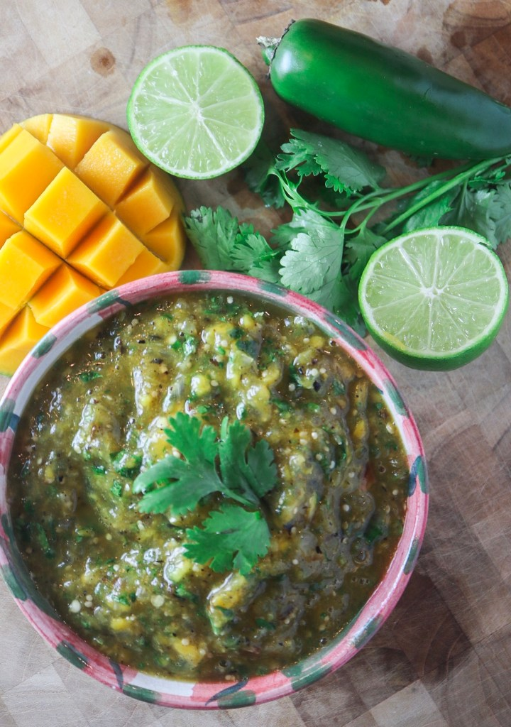 Roasted Tomatillo Mango Salsa