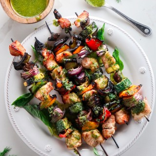 Chicken Kebabs with Lemon Herb Sauce