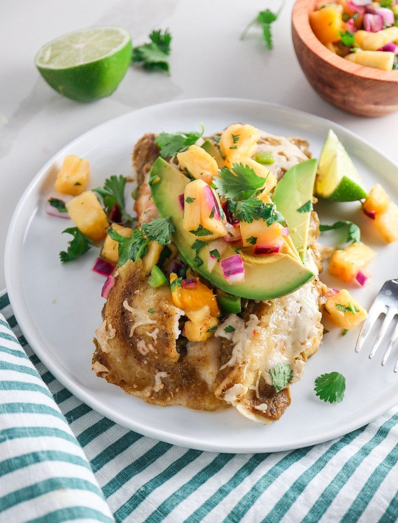 Enchiladas Verdes with Pineapple Mango Salsa