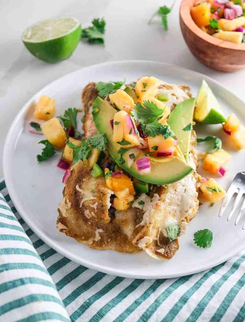 Chicken Enchiladas Verdes with Pineapple Salsa