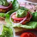 Jalepeno Turkey Burgers with Avocado Dill Sauce