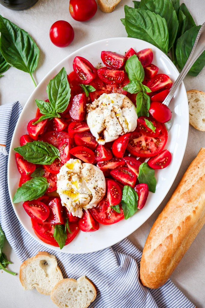 Tomatoes with Burratta and Basil