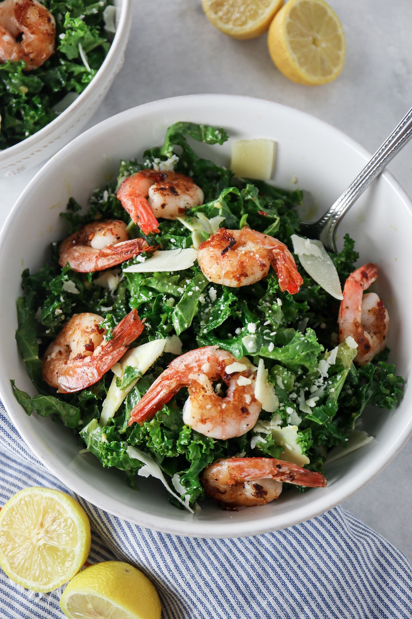 kale caesar salad with spicy shrimp  tipps in the kitch