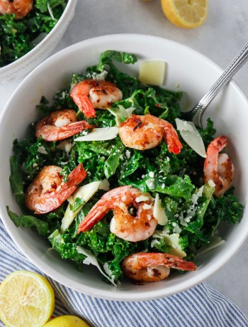 Kale Caesar salad with Spicy Shrimp