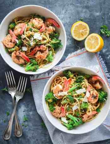 Zucchini Noodle & Spaghetti Bowl with Shrimp