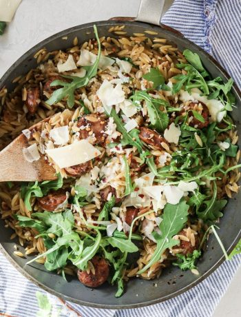 5 Ingredient Chicken Sausage and Orzo Skillet